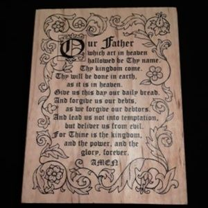 Large Wooden Our Father Prayer Stamp New